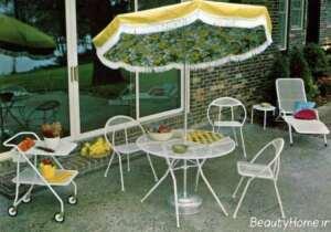میز و صندلی سفید برای تراس