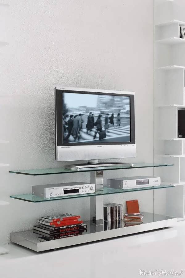 میز تلویزیون شیشه ای مدرن