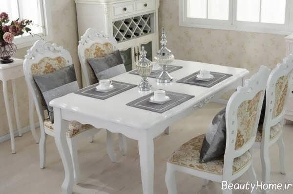 مدل میز ناهارخوری ایرانی و سفید