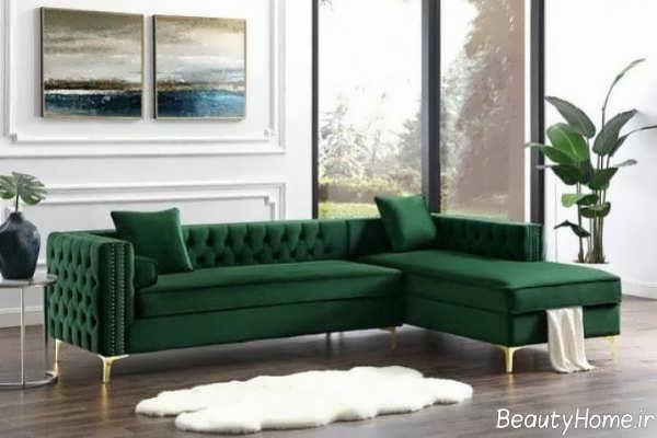 مدل مبلمان سبز یشمی شیک
