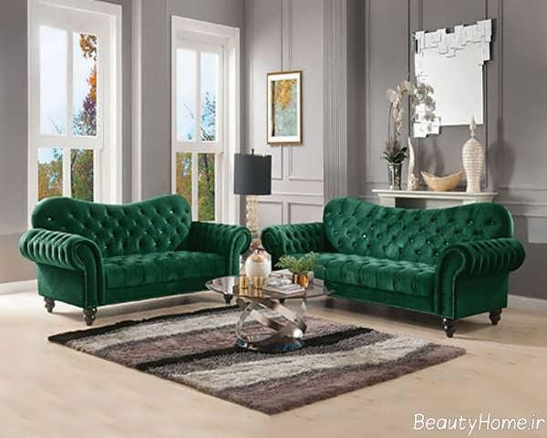 مدل مبل سبز یشمی مدرن
