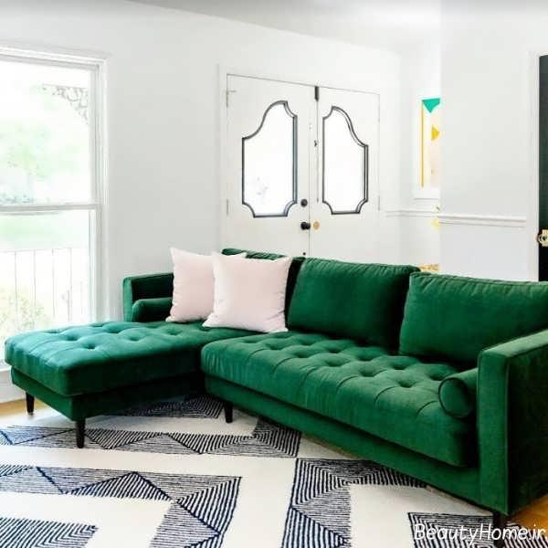 مدل مبل سبز یشمی ال