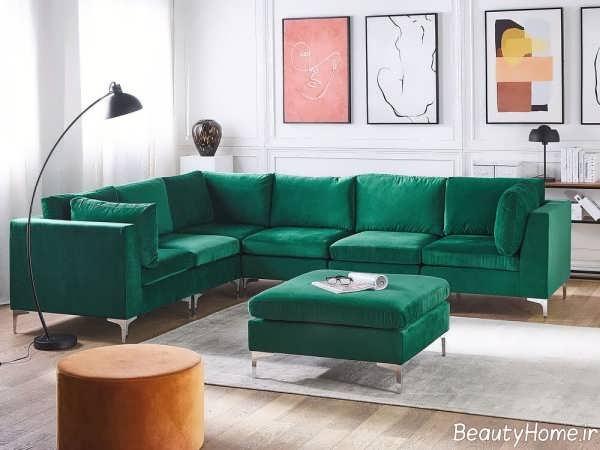 مدل مبل ال سبز یشمی