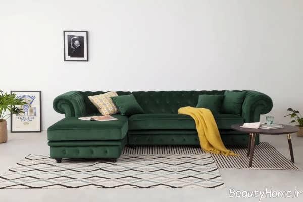 مدل مبل سبز یشمی ال و شیک