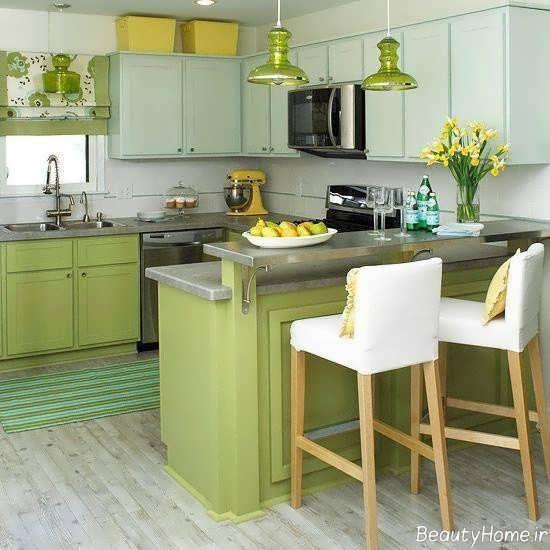 دکوراسیون رنگ لیمویی برای آشپزخانه