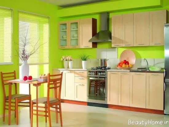 دکوراسیون آشپزخانه با رنگ لیمویی