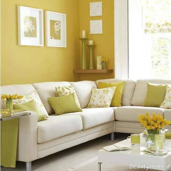 طراحی زیبا پذیرایی با رنگ لیمویی