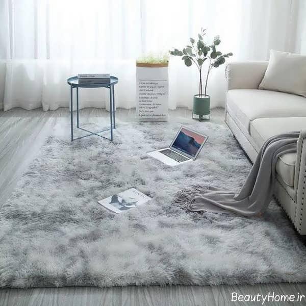 مدل فرش طوسی زیبا و جدید