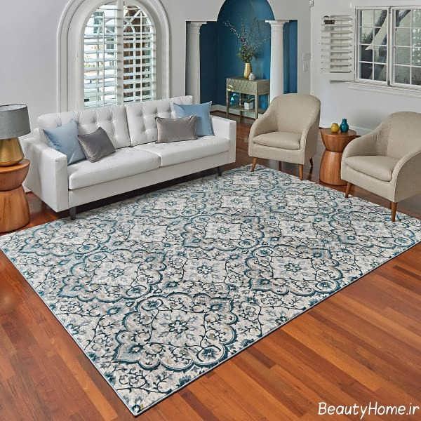 مدل فرش طوسی طرح دار