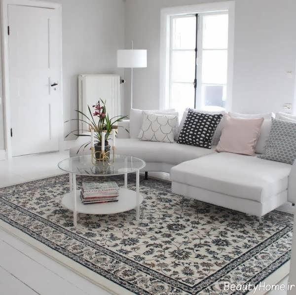 فرش طوسی طرح دار و زیبا