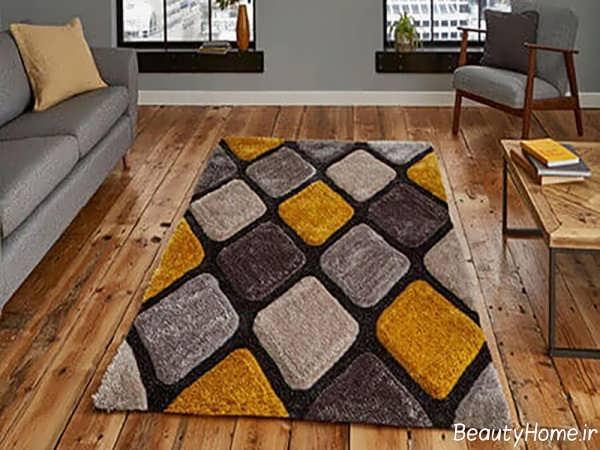 فرش طوسی و زرد