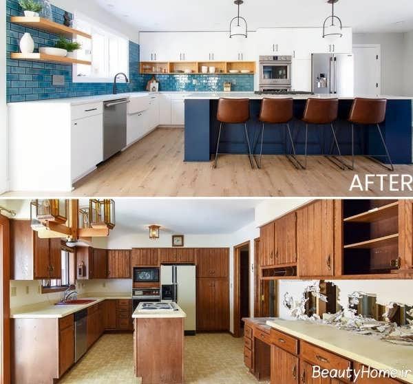 بازسازی اپن و کفپوش آشپزخانه