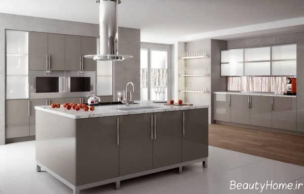 مدل کابینت آشپزخانه لمی گلاس