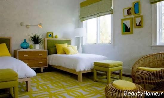 دکوراسیون اتاق خواب لیمویی