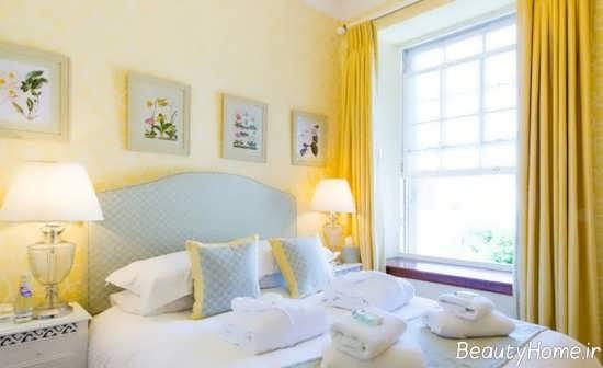 دکوراسیون اتاق خواب با رنگ لیمویی زرد