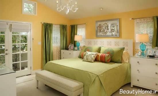 دیزاین داخلی اتاق خواب با رنگ لیمویی