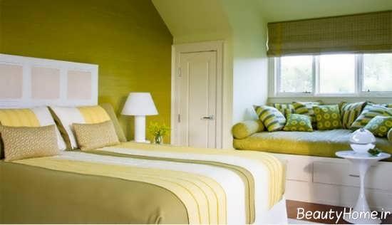 دکوراسیون رنگ لیمویی برای اتاق خواب