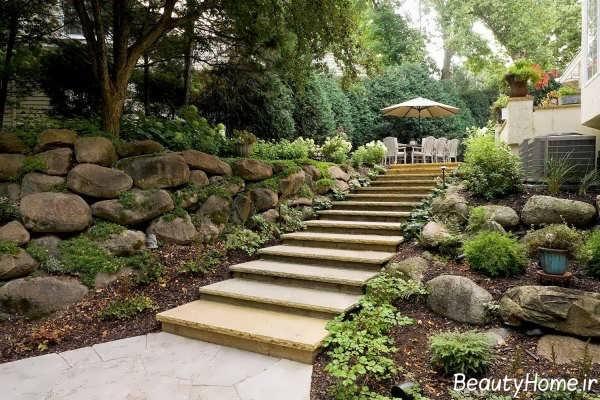 مدل راه پله حیاط شیک و زیبا