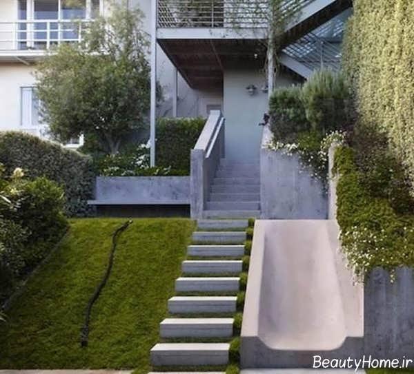 مدل راه پله حیاط زیبا و شیک