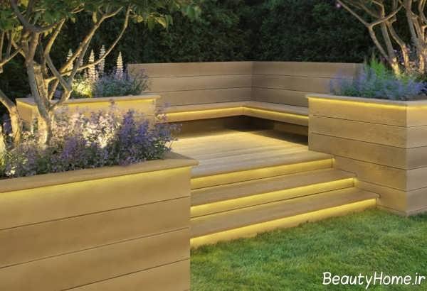 نورپردازی پله های حیاط
