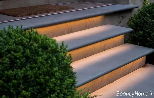 مدل نورپردازی راه پله حیاط