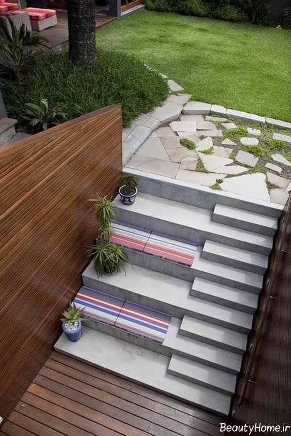 پله زیبا و شیک برای حیاط