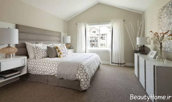 دیزاین اتاق خواب زیبا با رنگ های خنثی