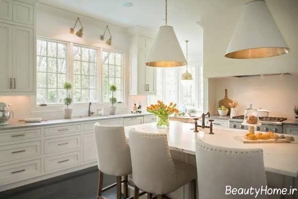 نورپردازی آشپزخانه با رنگ های خنثی