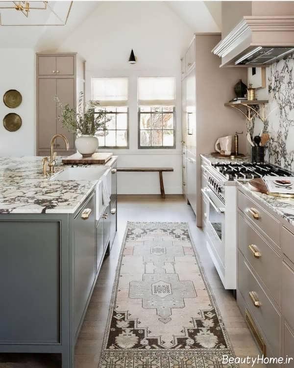 طراحی داخلی آشپزخانه با رنگ هایی خنثی