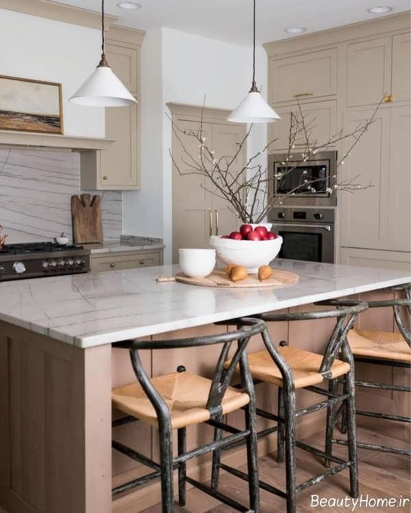 دکوراسیون زیبا آشپزخانه با رنگ های خنثی