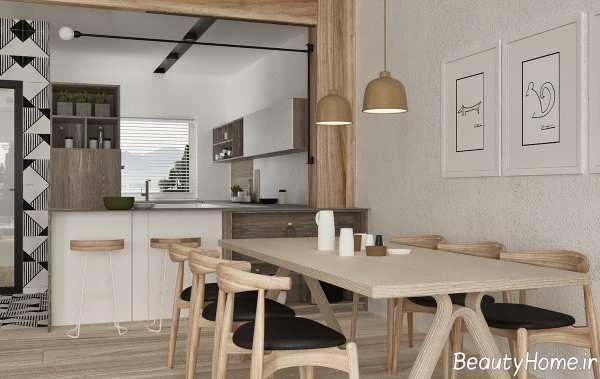 طراحی داخلی اتاق ناهارخوری با رنگ خنثی