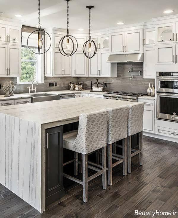 طراحی زیبا آشپزخانه با رنگ های خنثی