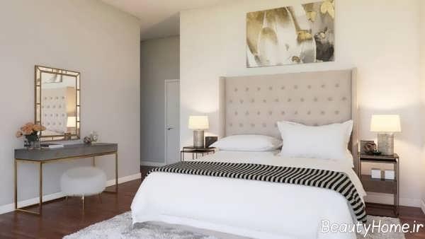 طراحی داخلی اتاق خواب مدرن با رنگ های خنثی