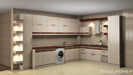 کابینت آشپزخانه رنگ روشن و جدید