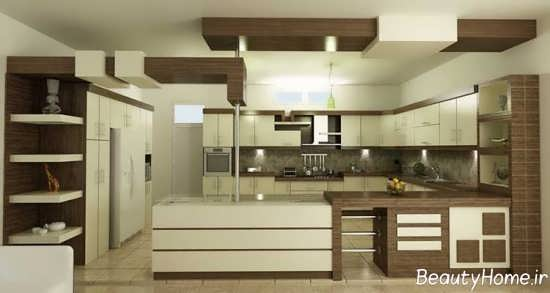 مدل کابینت آشپزخانه دو رنگ