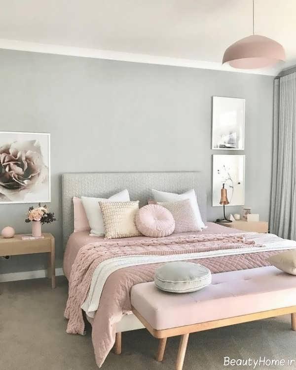 دکوراسیون شیک اتاق خواب با رنگ پاستلی