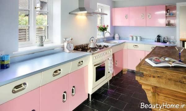 دکوراسیون آشپزخانه رنگ پاستیلی