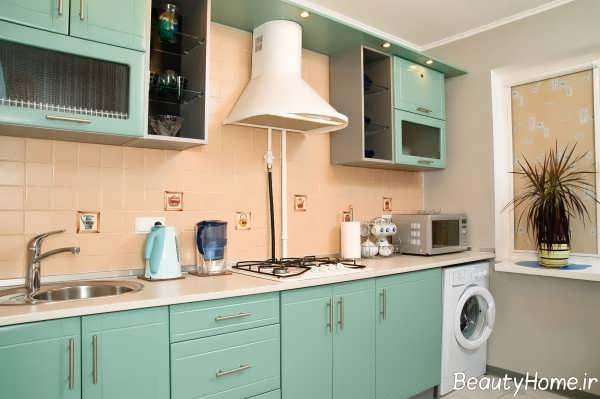 دیزاین داخلی آشپزخانه با رنگ پاستیلی