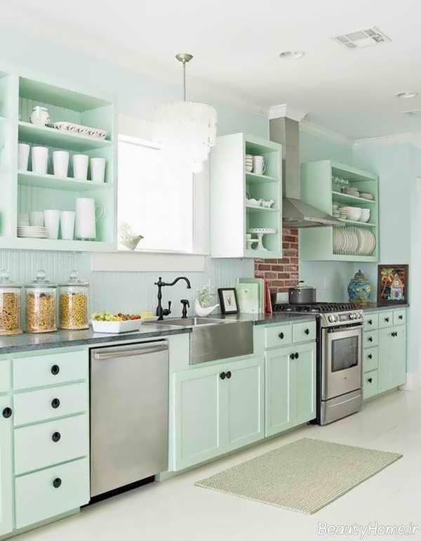 دیزاین آشپزخانه با رنگ پاستیلی