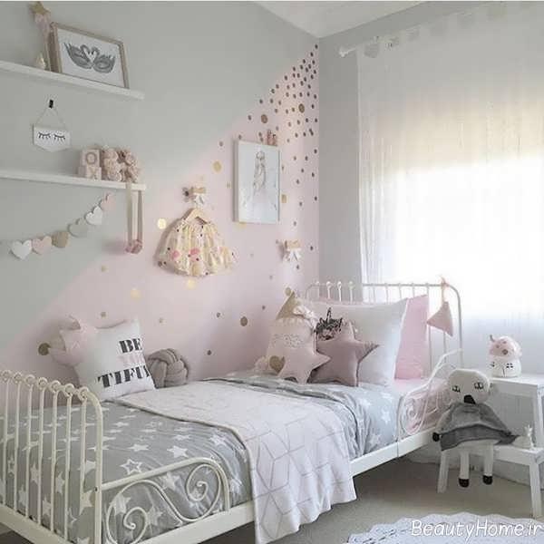دکوراسیون اتاق کودک دخترانه طوسی