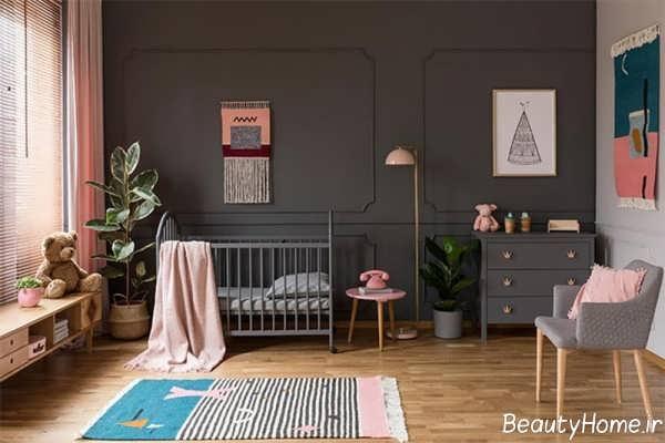 دکوراسیون اتاق کودک پسرانه و دخترانه با رنگ طوسی