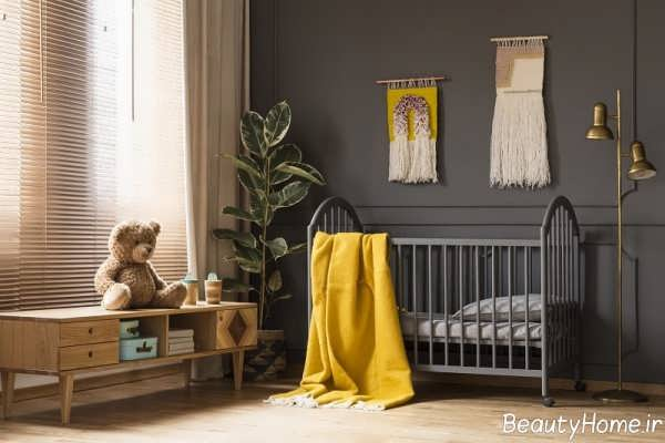 طراحی داخلی اتاق کودک طوسی و زرد