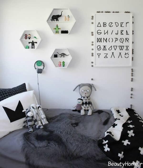 طراحی دکوراسیون اتاق کودک طوسی روشن و تیره
