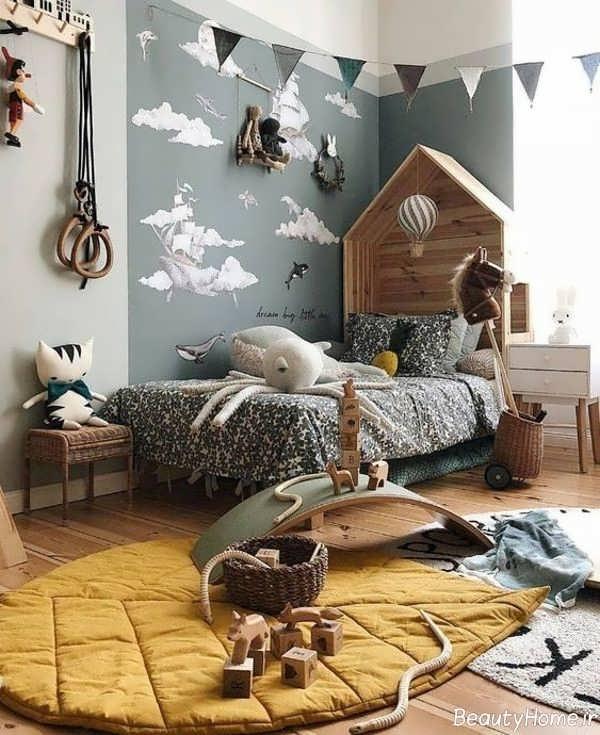 تزیین اتاق کودک با رنگ طوسی