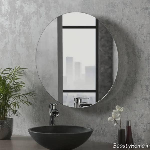 آینه ساده و گرد برای فضای سرویس بهداشتی