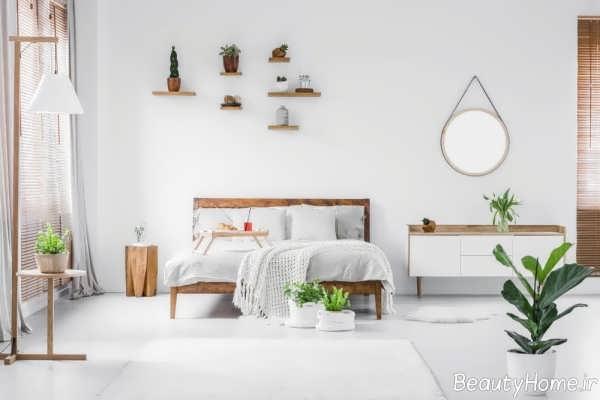دکوراسیون اتاق خواب سفید و بزرگ