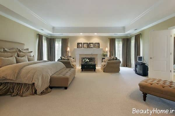 دکوراسیون اتاق خواب بزرگ و زیبا