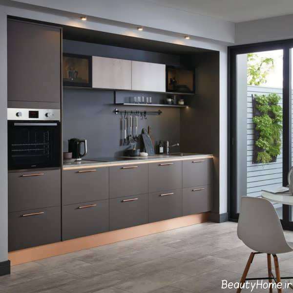 دکوراسیون آشپزخانه خطی شیک و زیبا
