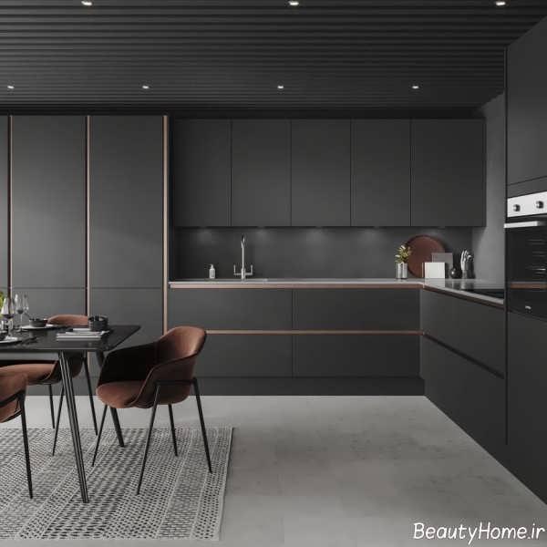 دکوراسیون آشپزخانه خطی با رنگ تیره