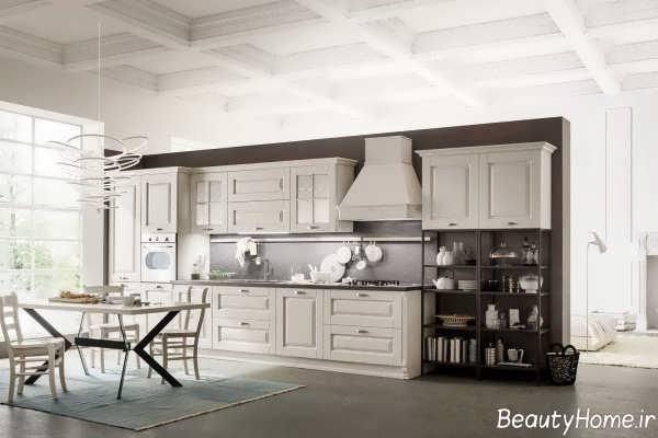 دکوراسیون آشپزخانه خطی کلاسیک